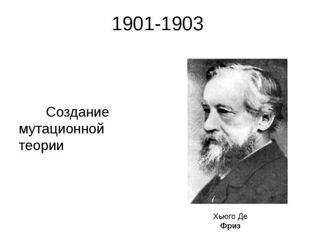 1901-1903 Создание мутационной теории Хьюго Де Фриз Термин «мутация» (от лат....