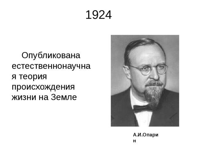1924 Опубликована естественнонаучная теория происхождения жизни на Земле А.И....