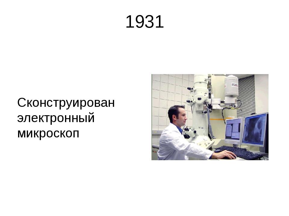 1931 Сконструирован электронный микроскоп В 1931 году Р. Руденберг получил па...