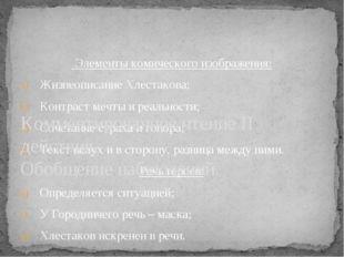 Элементы комического изображения: Жизнеописание Хлестакова; Контраст мечты и