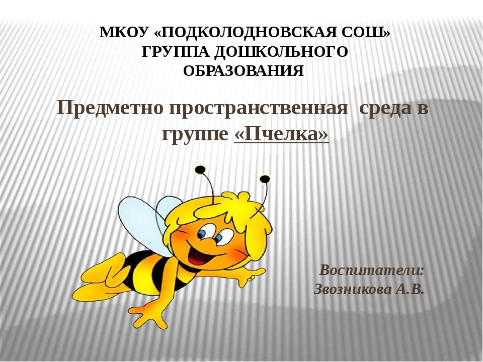 Предметно пространственная среда в группе «Пчелка» Воспитатели: Звозникова А....