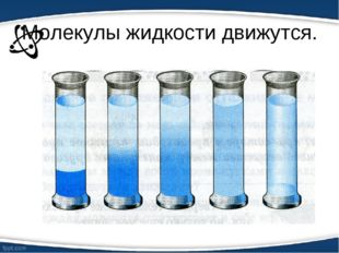 Молекулы жидкости движутся.