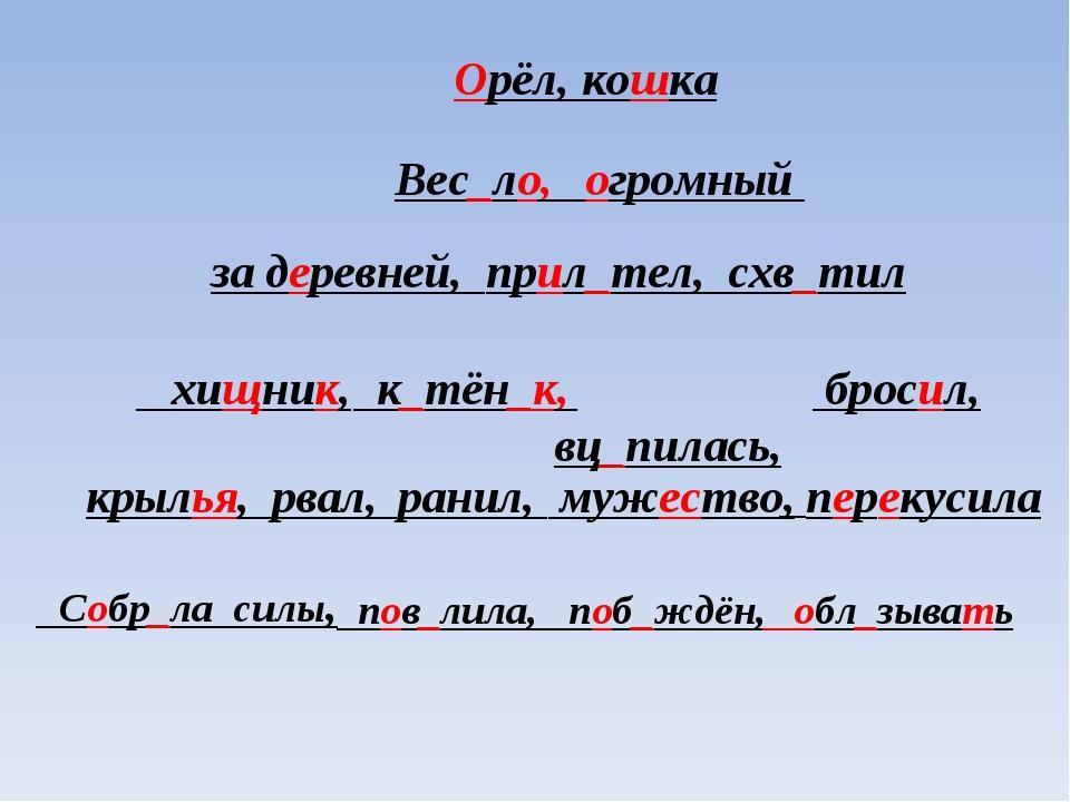 Орёл, кошка Вес_ло, огромный за деревней, прил_тел, схв_тил к_тён_к, вц_пилас...