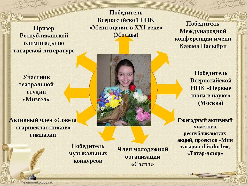 Призер Республиканской олимпиады по татарской литературе Победитель Всеросси...