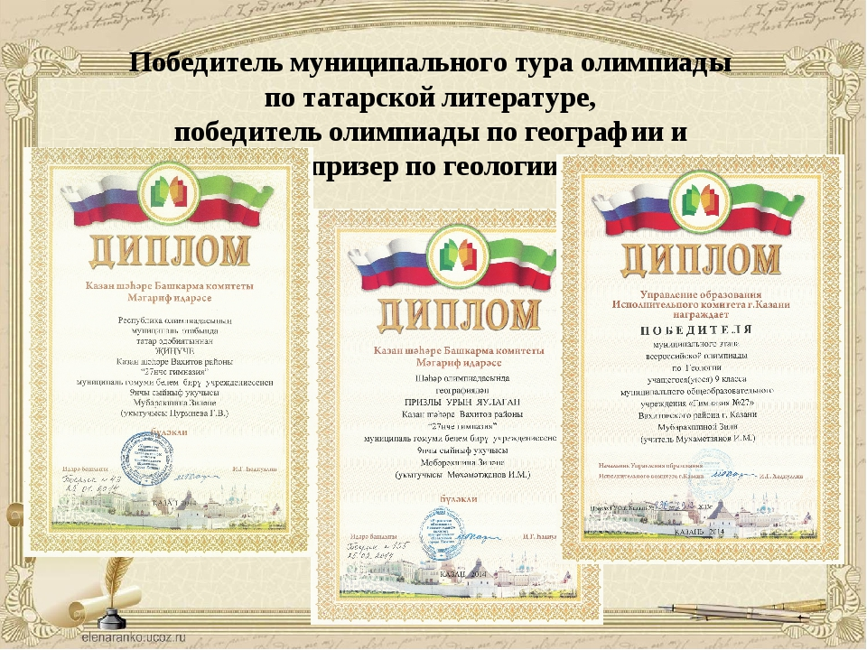 Победитель муниципального тура олимпиады по татарской литературе, победитель...