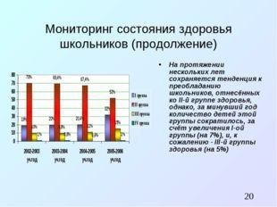 Мониторинг состояния здоровья школьников (продолжение) На протяжении нескольк