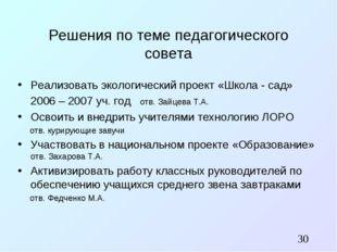 Решения по теме педагогического совета Реализовать экологический проект «Школ