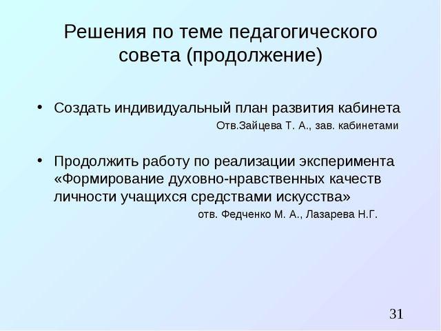 Решения по теме педагогического совета (продолжение) Создать индивидуальный п...