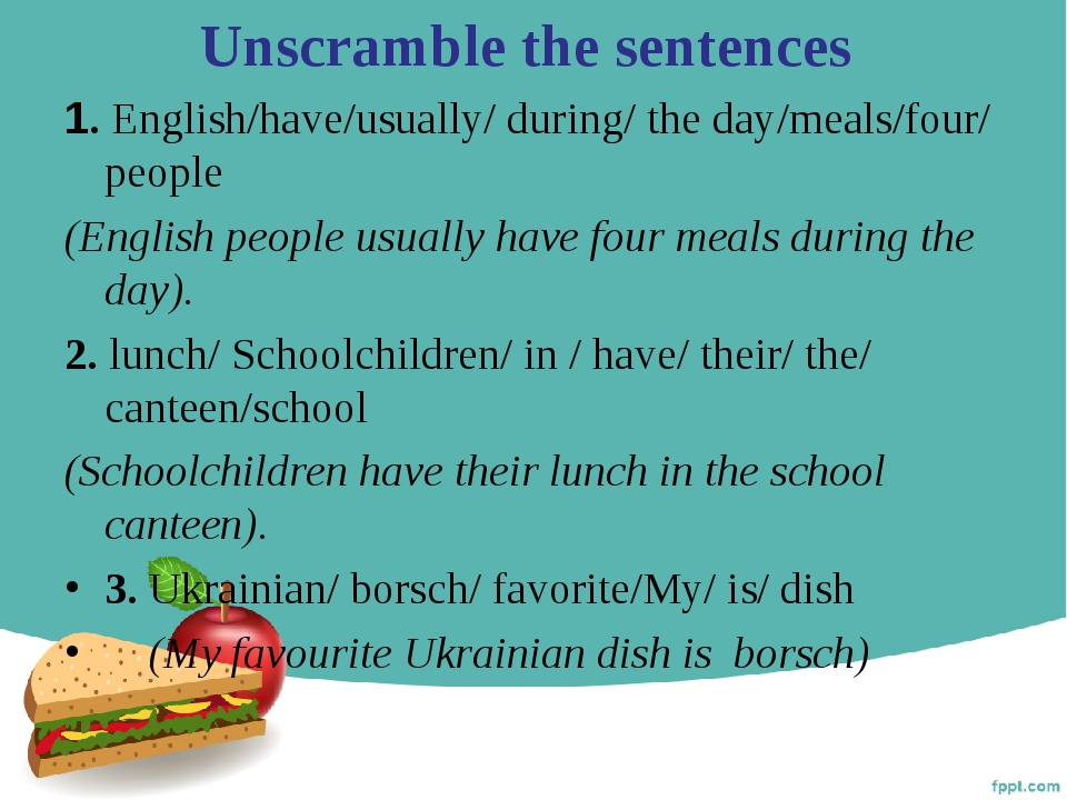 Unscramble the sentences 1. English/have/usually/ during/ the day/meals/four/...