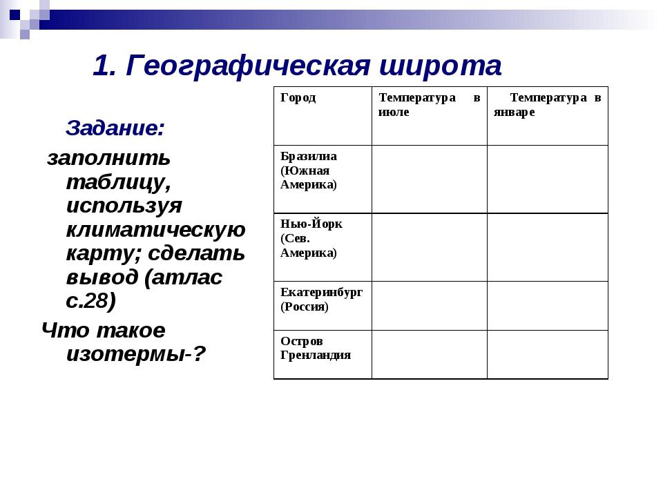 1. Географическая широта Задание: заполнить таблицу, используя климатическую...