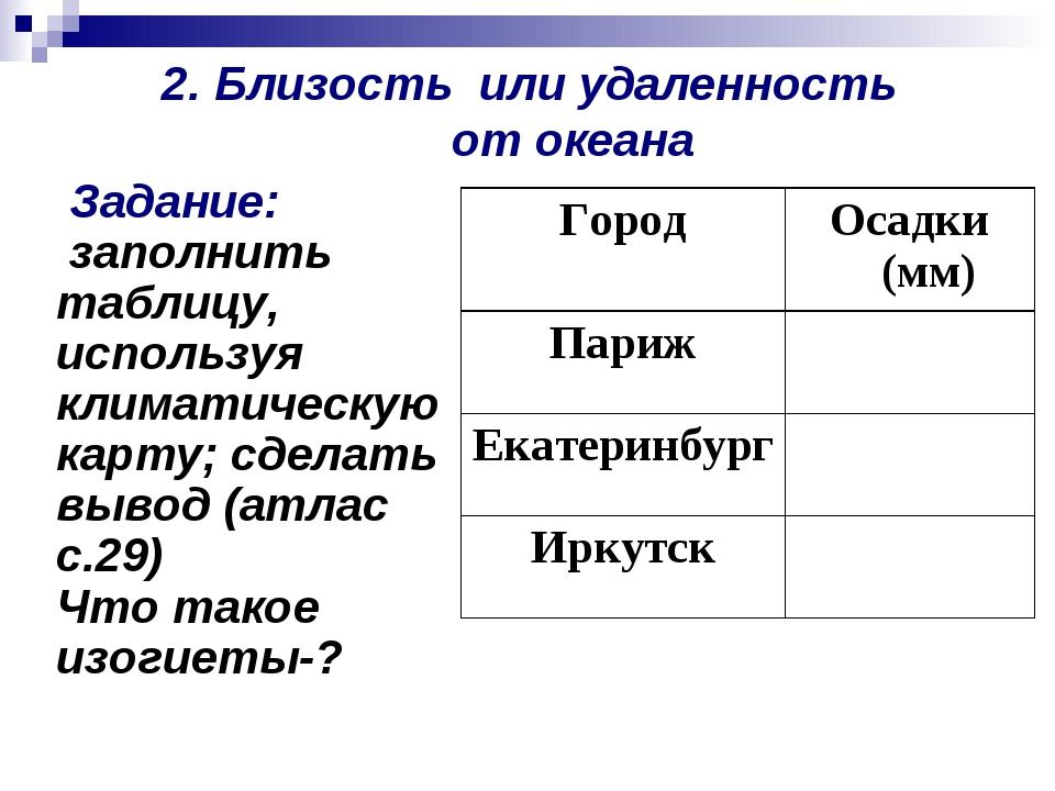 2. Близость или удаленность от океана Задание: заполнить таблицу, используя к...