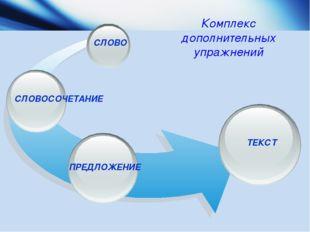 ПРЕДЛОЖЕНИЕ СЛОВО СЛОВОСОЧЕТАНИЕ ТЕКСТ Комплекс дополнительных упражнений