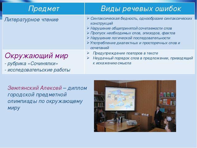 * * Землянский Алексей – диплом городской предметной олимпиады по окружающему...