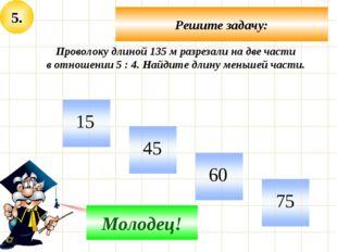 5. Решите задачу: Не верно! Молодец! Проволоку длиной 135 м разрезали на две