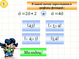 7. В какой точке пересекаются графики функций : Не верно! Молодец! и