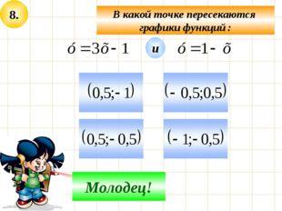 8. В какой точке пересекаются графики функций : Не верно! Молодец! и