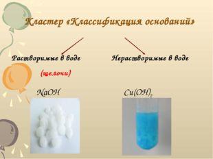 Кластер «Классификация оснований» Растворимые в воде (щелочи) Нерастворимые в