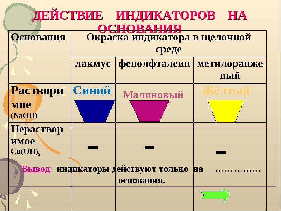 ДЕЙСТВИЕ ИНДИКАТОРОВ НА ОСНОВАНИЯ Вывод: индикаторы действуют только на …………...