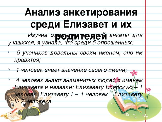 Анализ анкетирования среди Елизавет и их родителей  Изучив ответы на вопрос...