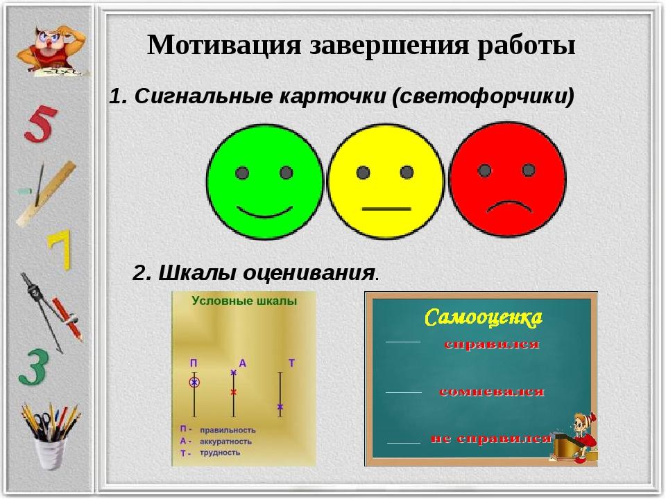Мотивация завершения работы 1. Сигнальные карточки (светофорчики) 2. Шкалы о...