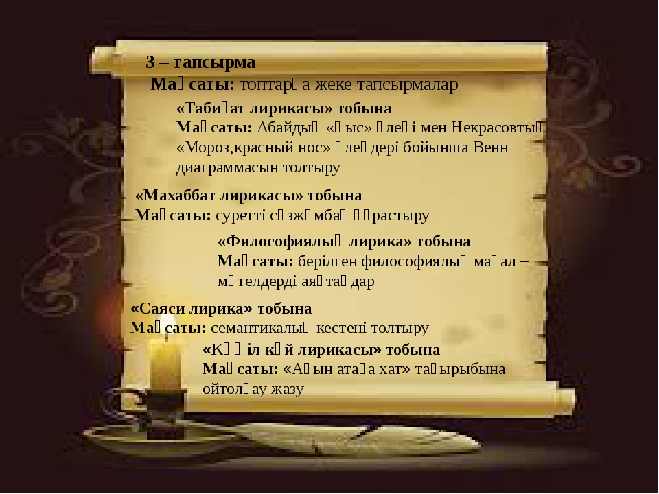 «Табиғат лирикасы» тобына Мақсаты: Абайдың «Қыс» өлеңі мен Некрасовтың «Мороз...