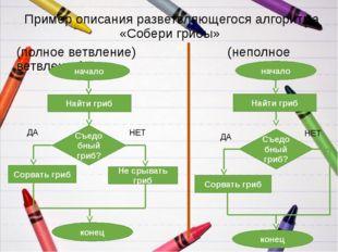 Пример описания разветвляющегося алгоритма «Собери грибы» (полное ветвление)