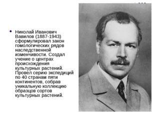 Николай Иванович Вавилов (1887-1943) сформулировал закон гомологических рядов