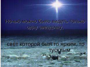 Ночью можно было видеть только одну звездочку, свет которой был то ярким, то