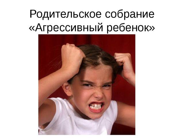 Родительское собрание «Агрессивный ребенок»
