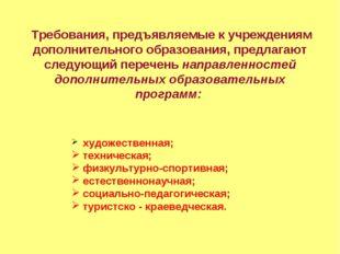 Требования, предъявляемые к учреждениям дополнительного образования, предлаг
