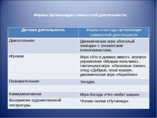 Формы организации совместной деятельности: Детская деятельностьФормы и метод