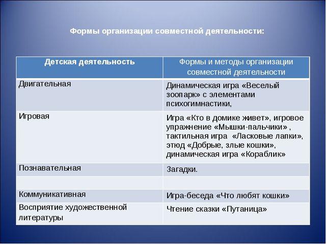 Формы организации совместной деятельности: Детская деятельностьФормы и метод...