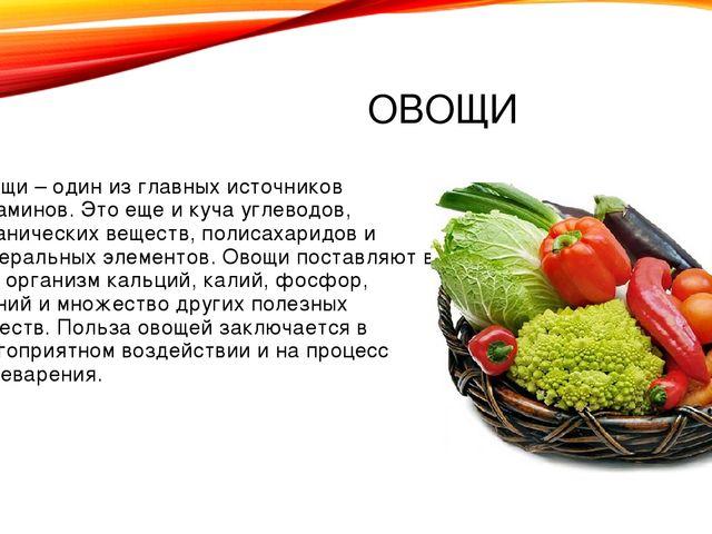 ОВОЩИ Овощи – один из главных источников витаминов. Это еще и куча углеводов,...