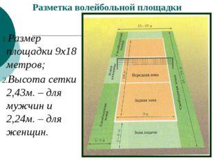 Разметка волейбольной площадки Размер площадки 9х18 метров; Высота сетки 2,
