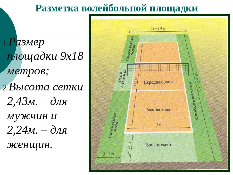 Разметка волейбольной площадки Размер площадки 9х18 метров; Высота сетки 2,...