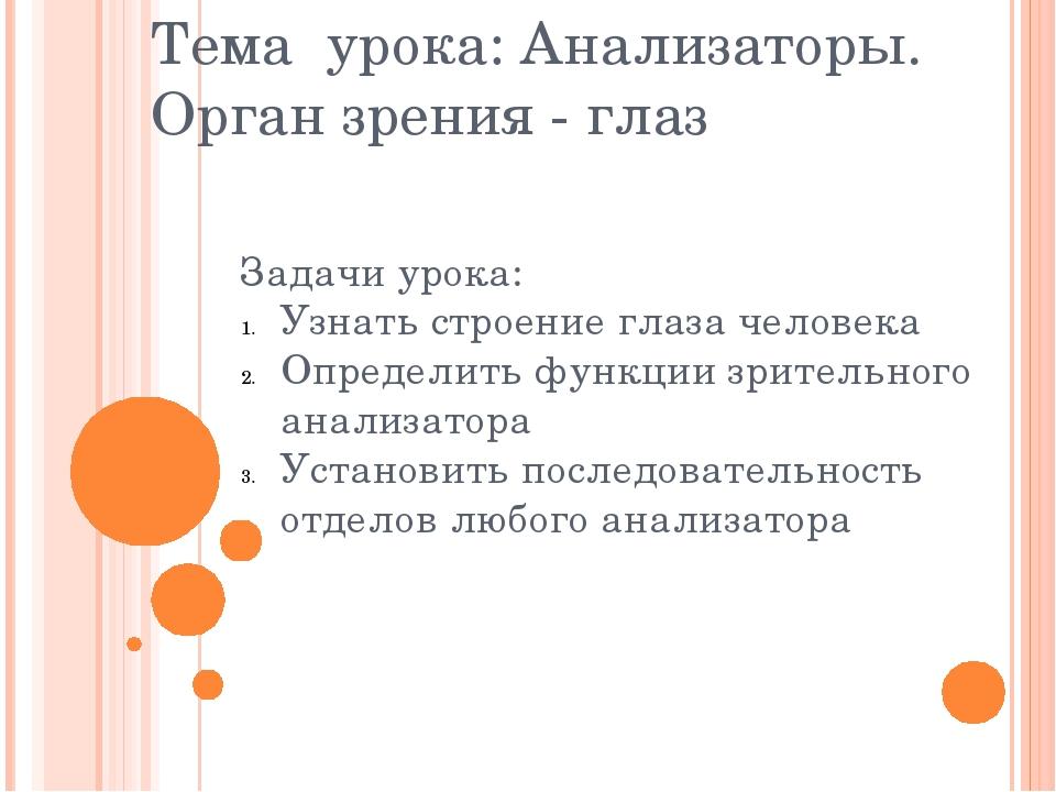 Тема урока: Анализаторы. Орган зрения - глаз Задачи урока: Узнать строение гл...