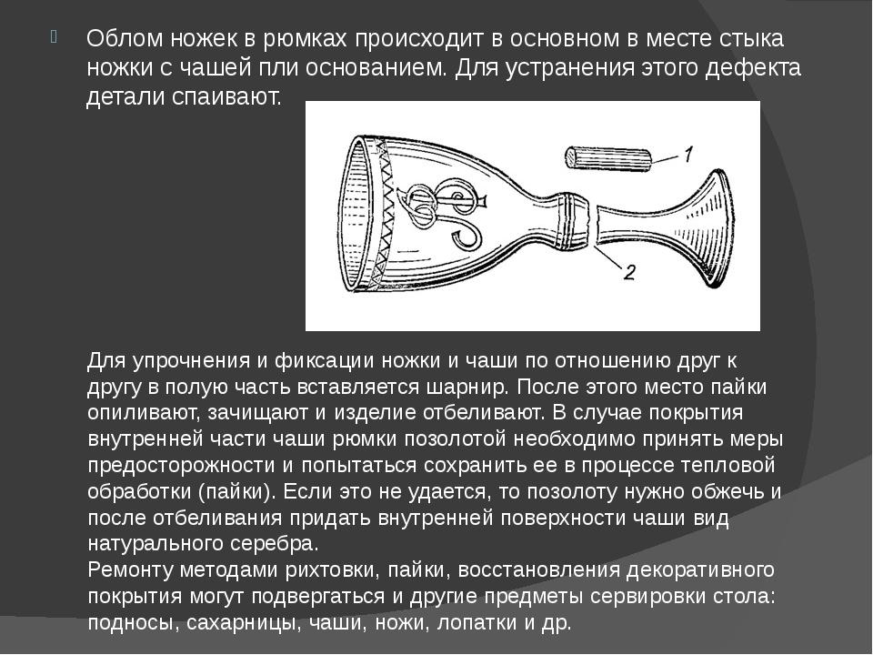 Облом ножек в рюмках происходит в основном в месте стыка ножки с чашей пли ос...