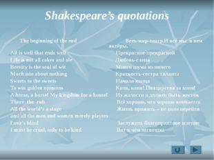 Shakespeare's quotations The beginning of the end Весь мир-театр.И всё мы в н