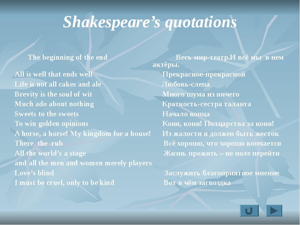 Shakespeare's quotations The beginning of the end Весь мир-театр.И всё мы в н...