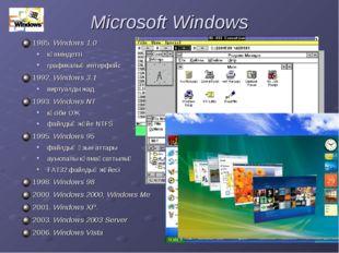 Microsoft Windows 1985. Windows 1.0 көпміндетті графикалық интерфейс 1992. Wi
