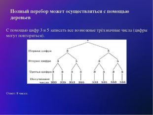 Полный перебор может осуществляться с помощью деревьев С помощью цифр 3 и 5 з