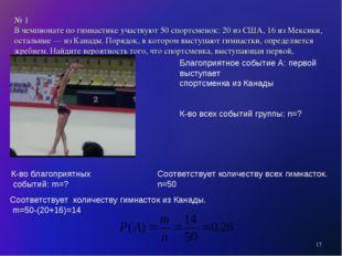 № 1 В чемпионате по гимнастике участвуют 50 спортсменок: 20 из США, 16 из Мек