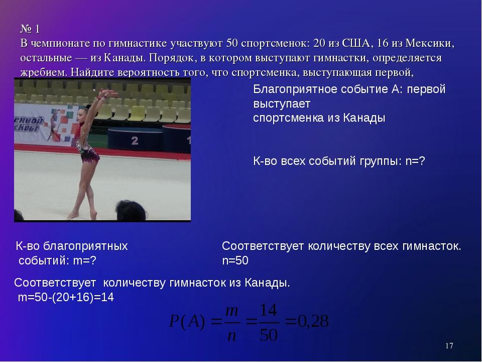 № 1 В чемпионате по гимнастике участвуют 50 спортсменок: 20 из США, 16 из Мек...