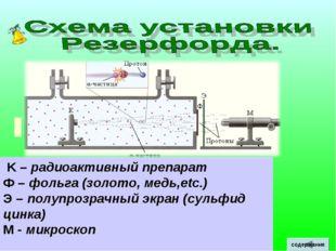 K – радиоактивный препарат Ф – фольга (золото, медь,etc.) Э – полупрозрачный