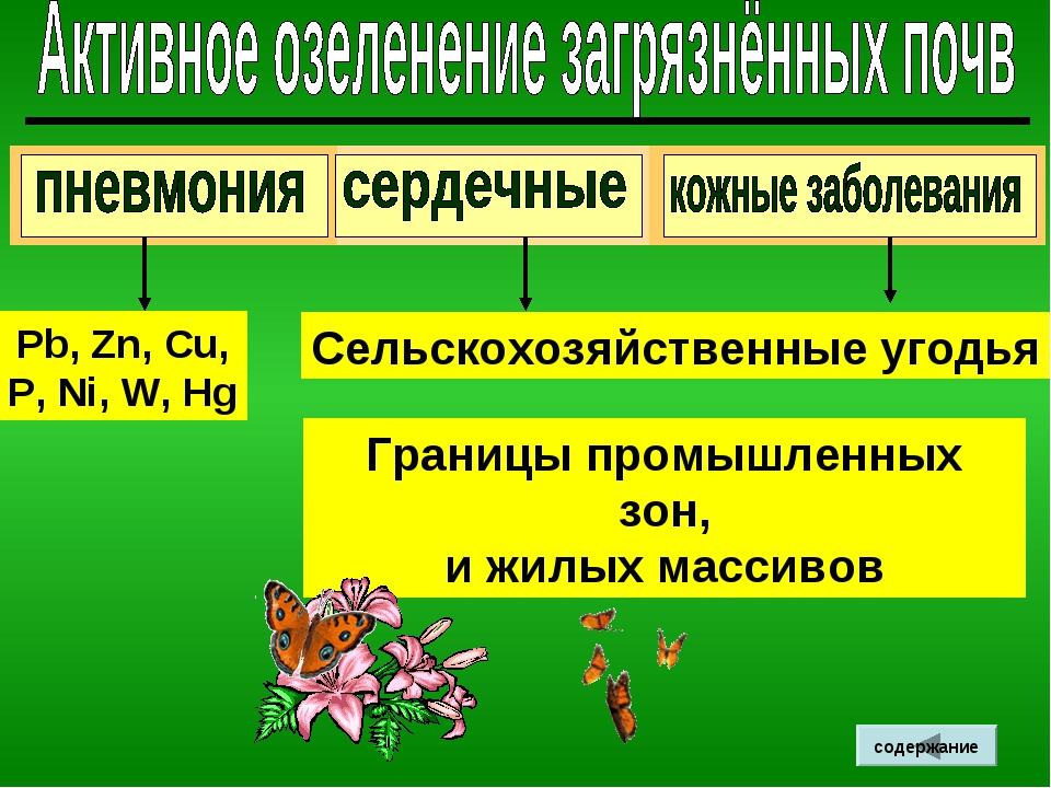 Границы промышленных зон, и жилых массивов Сельскохозяйственные угодья Pb, Zn...