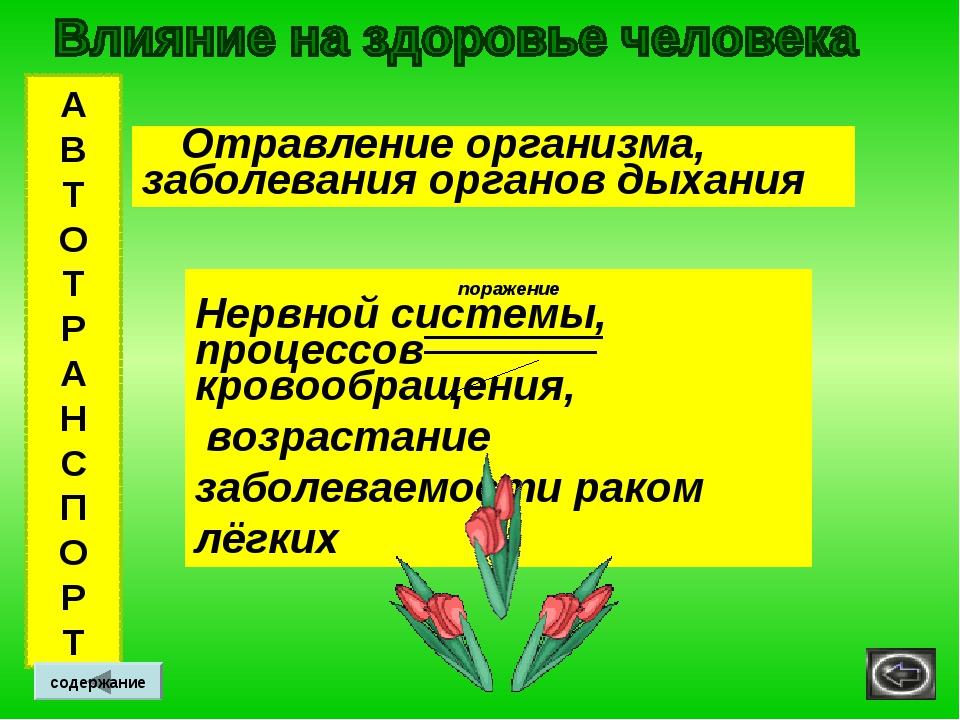 А В Т О Т Р А Н С П О Р Т содержание Отравление организма, заболевания органо...