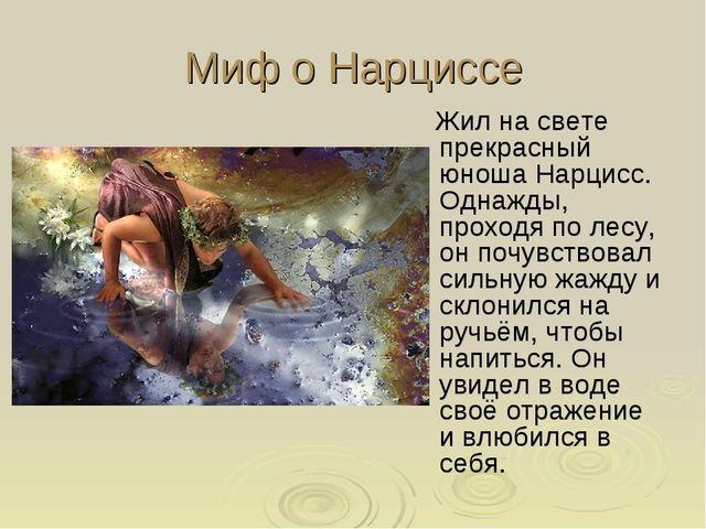 Миф о Нарциссе Жил на свете прекрасный юноша Нарцисс. Однажды, проходя по лес...