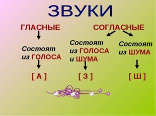 ГЛАСНЫЕ СОГЛАСНЫЕ Состоят из ГОЛОСА Состоят из ГОЛОСА и ШУМА Состоят из ШУМА