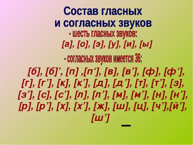 [а], [о], [э], [у], [и], [ы] . [б], [б]', [п] ,[п'], [в], [в'], [ф], [ф'], [...