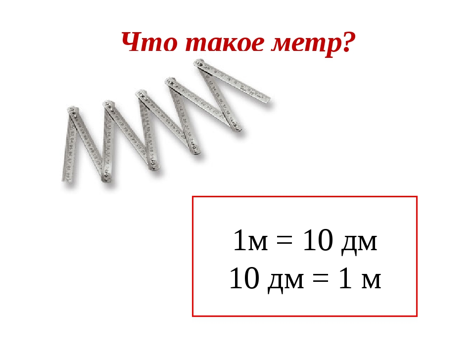Что такое метр? 1м = 10 дм 10 дм = 1 м